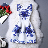 Hot Sale 2016 Summer Style Girls Dresses Girl Floral Print Sleeveless Formal Dresses Christmas Party Dress