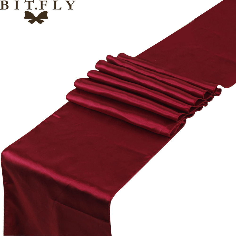 BIT.FLY 22 Colors Satin Table Runners 12x108inch For Home Table Decor Home Hotel Wedding Party Table Decoration Free Shipping
