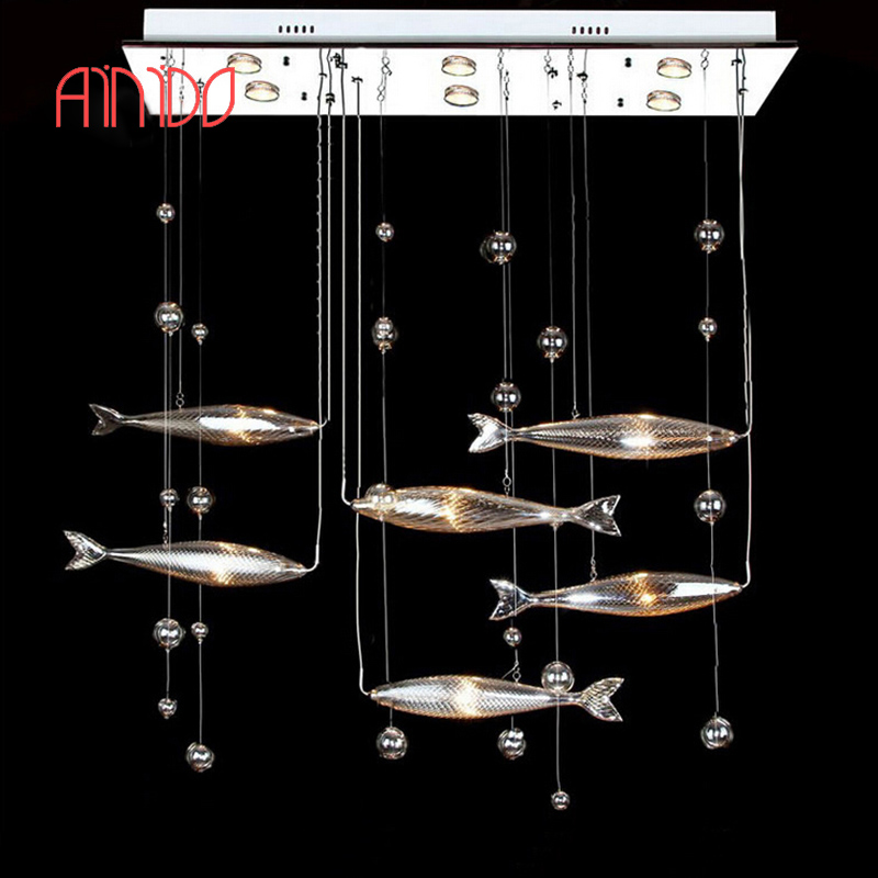 New Year Sales Brief Modern Living Room Fishes Crystal Lamp Pendant Light Fashion Bar Lamps 6 Fishes Free Shipping