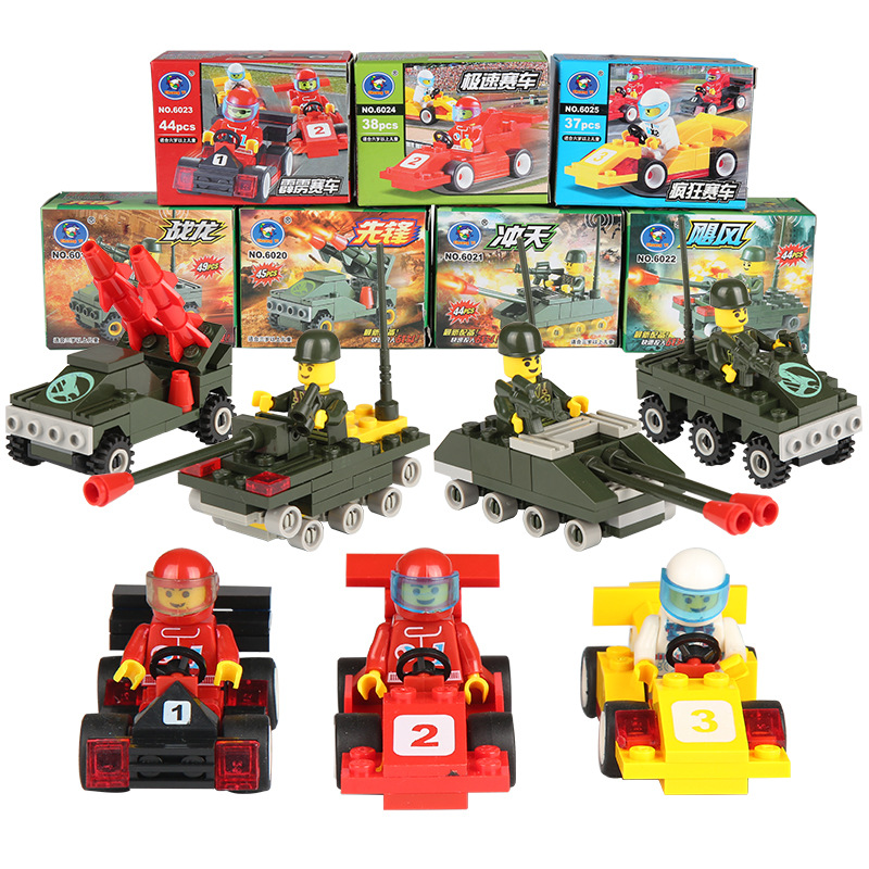 single sale motorcycle race minesweeping car police truck missile launcher diy toys building blocks kids toys playmobile gifts