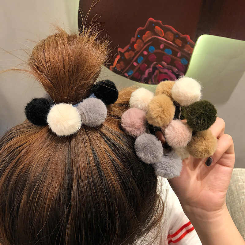 New Fashion Korean Style Girls Women Hair Accessories Multi Fur Ball Elastic Hair Bands Hair Ties Ponytail Holder Rubber Bands