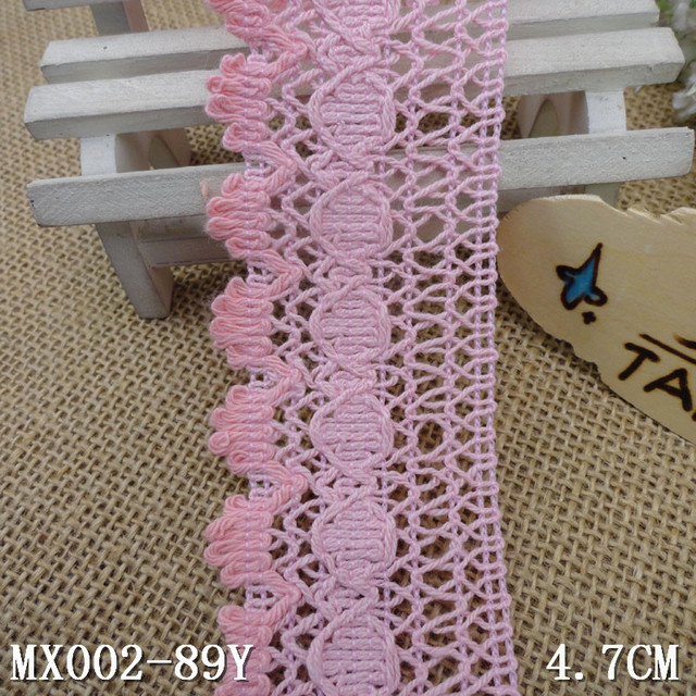 47cm Cotton Lace Trim Pink Knitted Lace Tape Diy Accessories