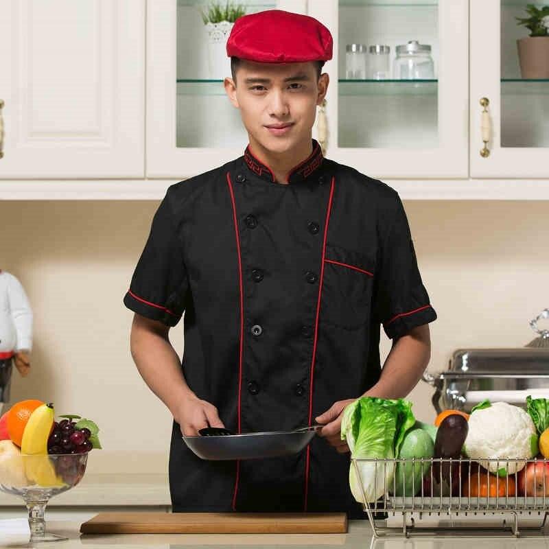 (10 Sets-hoed & Shirt & Schort) Groothandel Double-breasted Drukknoop Kok Mode Kleding Met Chef Cap Schort Baker Dragen Schip Door Koop One Give One