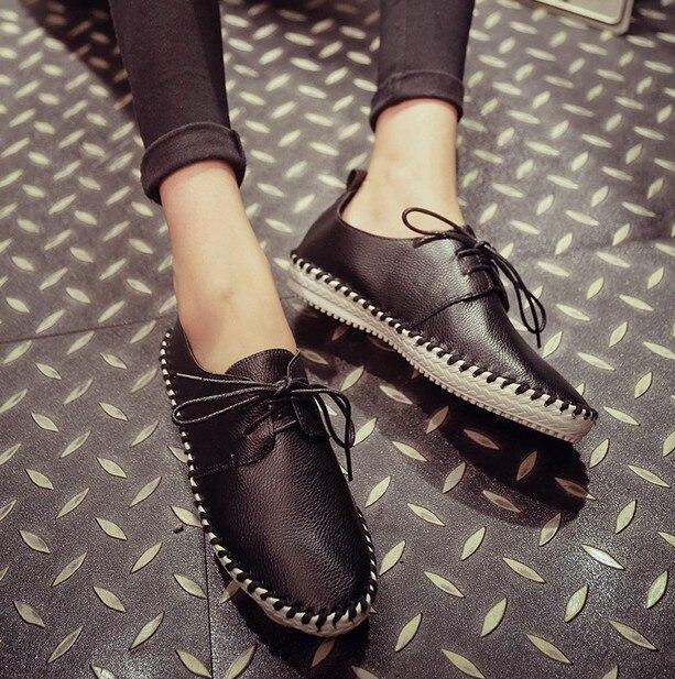 2016 Nuevos Mocasines Casuales Mujeres de La Moda Guisantes Zapatos de Cuero de LA PU Atan