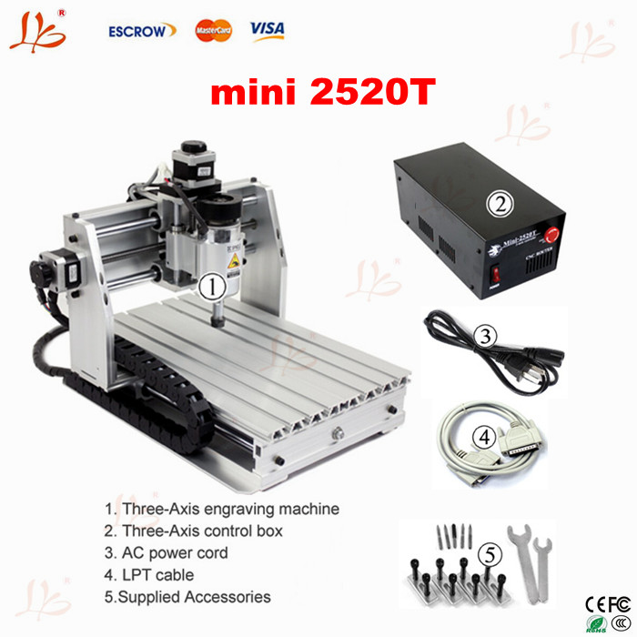 ship to Russia ,include tax new user starter mini cnc router mini 2520T cnc engraver machine  cnc cutting machine no tax to russia cnc 5 axis t chuck type include a aixs