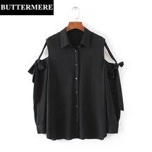 Buttermere Brand 2017 Summer Top Shirt Women Bow Tie Off Shoulder Button Elegant Long Sleeve Solid Chiffon Blouses Blasus