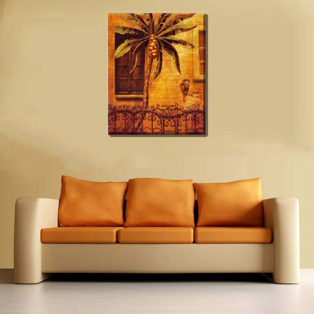 Coconut Palm Tree Oil Painting Print Canvas Landscape Artwork Home ...