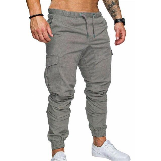 d33d4b7dfa88e 2018 Men Casual Pants Multi-pocket Slim Fit Elastic Waist Solid Men Cargo  Pants Joggers