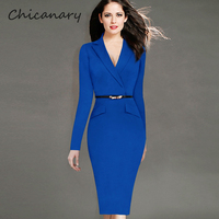 Chicanary 2016 Europe Style Notched Long Sleeve Solid Office Lady Decorative Pocket Belted Pencil Dresses Plus