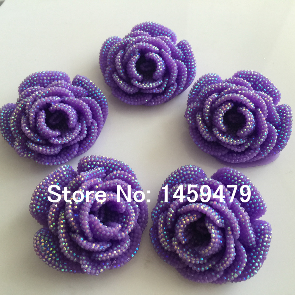 New 3D Flowers Large Resin Purple AB Color Stick On Crystals Rhinestones  DIY Craft art Accessory Stones 4pcs 47mm-in DIY Craft Supplies from Home    Garden ... 236f26306303