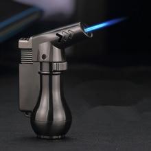 Nowy przenośny kompaktowy zapalniczka na butan latarka Turbo lżejsze stałych Mini Spray pistolet zapalniczka wiatroodporny metalowy 1300 C bez gazu