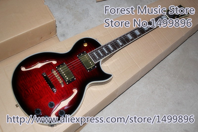 все цены на New Arrival China Hollow Maple Body LP Custom Electric Guitar Left Handed Guitars Available