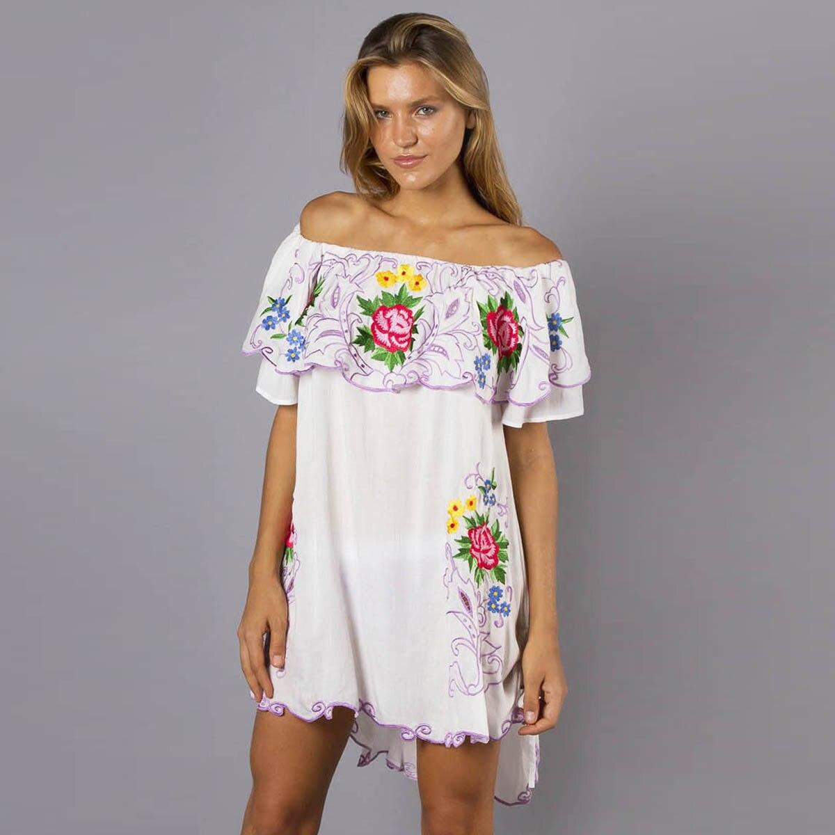 Jastie Ruffle off-épaule Mini Robe Floral robe avec broderies Boho Chic décontracté robe courte Femmes D'été Robes Femme Robe