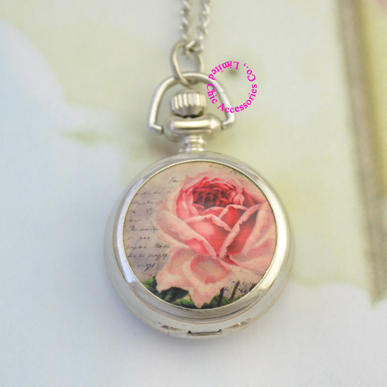 new fashion silver classic pink rose flower girl fob pocket watch necklace chain hour wholesale buyer low price antibrittle