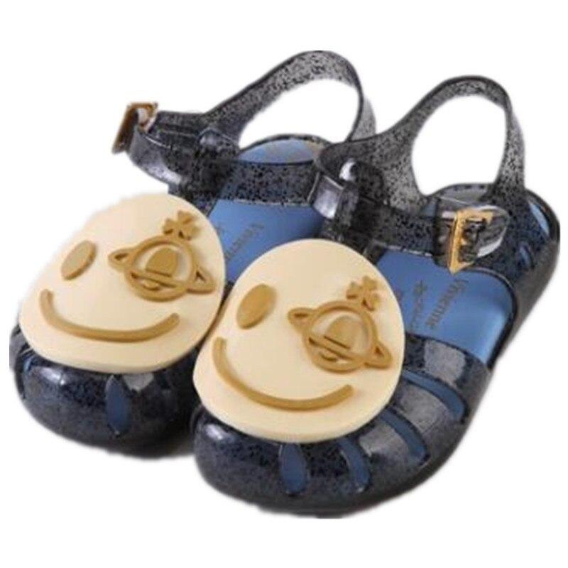 Mini Melissa Smiley Star Face Beach Kids Shoes Kids Mini Aranha X Mary Jane Flat hot New Summer Girls Sandals Hook 14-19cm