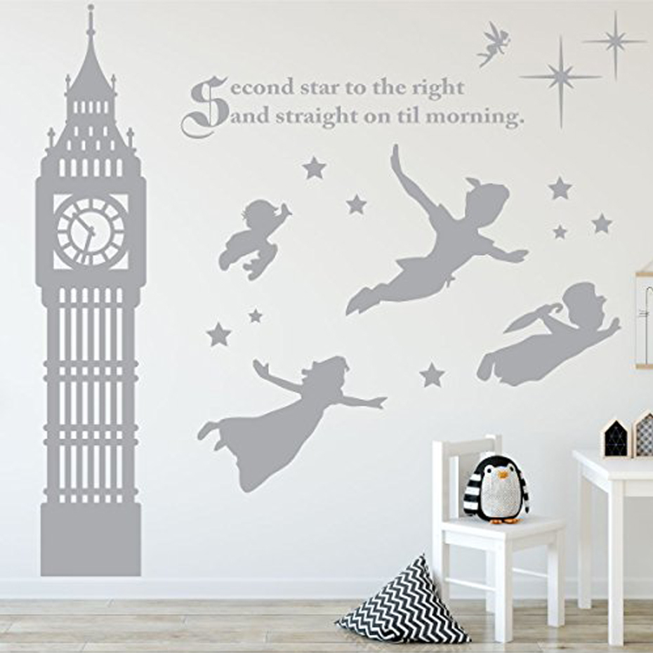 c16b346e0a67 Peter Pan Scene Silhouettes Removable Wall Stickers Stars Big Ben Wall Art  Decal Girls Room Nursery