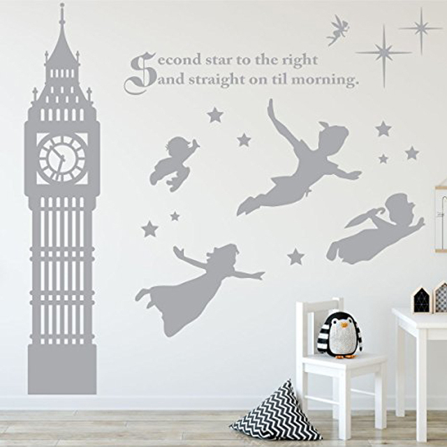 Peter Pan Scene Silhouettes Removable Wall Stickers Stars Big Ben Wall Art Decal Girls Room Nursery Wallpaper Mural Home Decor