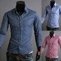 2014 Новая Весна Классический Полосой Бизнес Мужские Рубашки Повседневные Slim Fit С Длинным рукавом Социальный Camisas Masculinas M-XXL