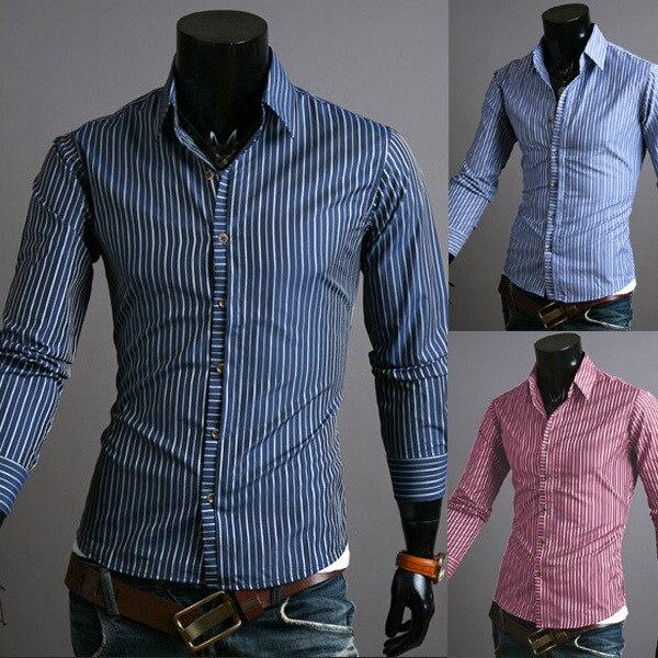 2014 Nieuwe Lente Klassieke Streep Zakelijke Heren Overhemden Casual Slim Fit Lange mouw Sociale Camisas Masculinas M-XXL