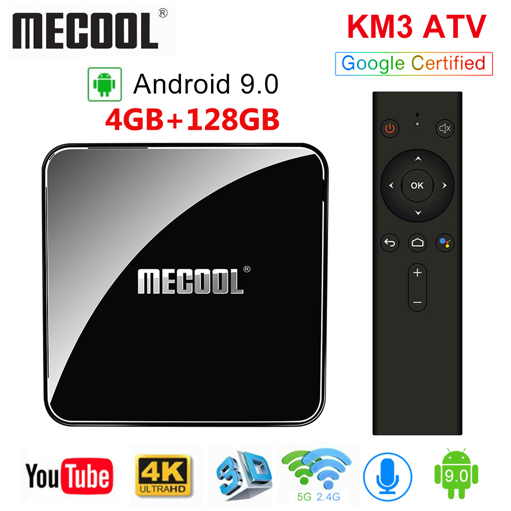 Mecool KM3 ATV 4G 64G 128G Android 9.0 Amlogic Google Certified Androidtv S905X2 4K Dupla Wi-fi caixa de TV inteligente KM9 Pro 2/16G 4/32G