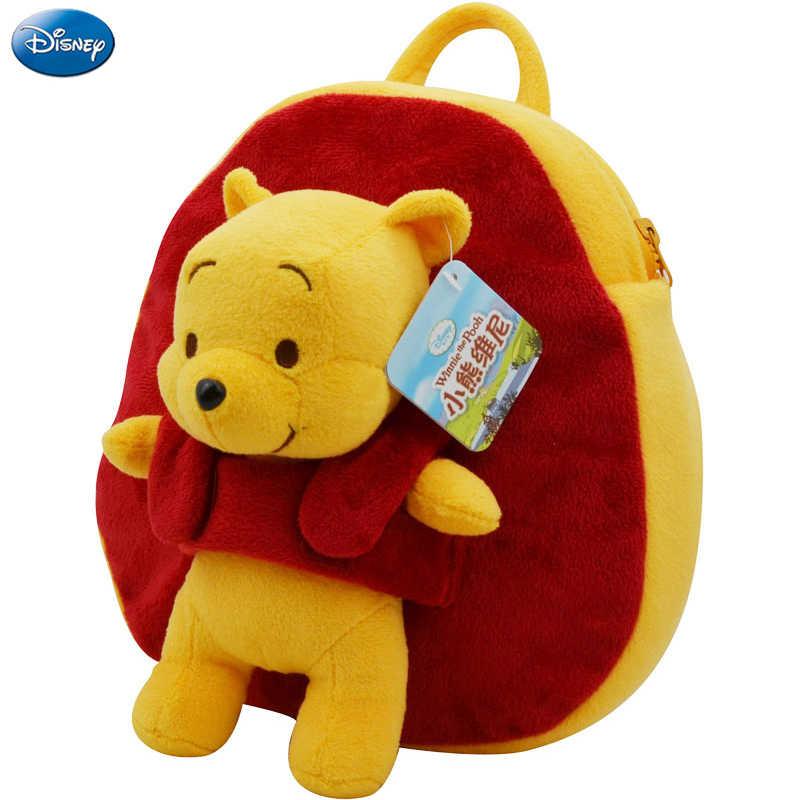 Оригинальный Дисней плюшевый рюкзак хлопок Мягкая кукла Винни 27 см пух Kawaii Детский сад Школьный Рождественский подарок игрушка для ребенка