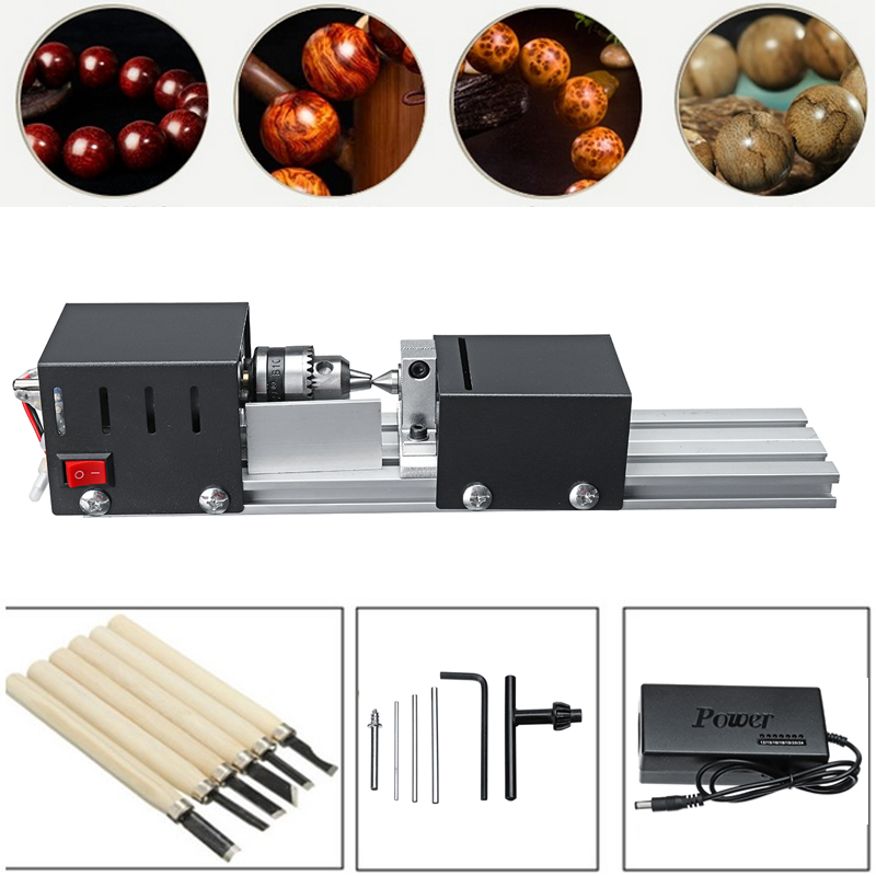 200W DIY Lathe Machine Mini Lathe Mini CNC Milling Machine Woodworking Wood Working lathe Grinding Polishing Beads Drill Tool