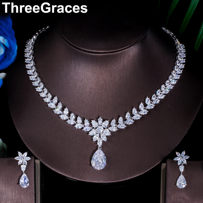ThreeGraces Top Cubic Zirconia Bridal Necklace and Earrings Big Water Drop Flower Wedding Costume Jewelry Sets for Brides JS007ThreeGraces Top Cubic Zirconia Bridal Necklace and Earrings Big Water Drop Flower Wedding Costume Jewelry Sets for Brides JS007