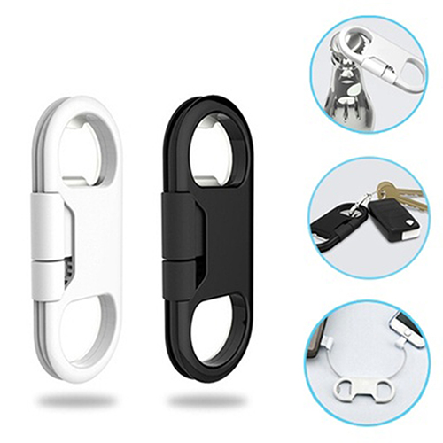 Bottle <font><b>Opener</b></font> Keychain Data Cable Portable 3in1 USB Charging Cord for Smart <font><b>Phone</b></font>