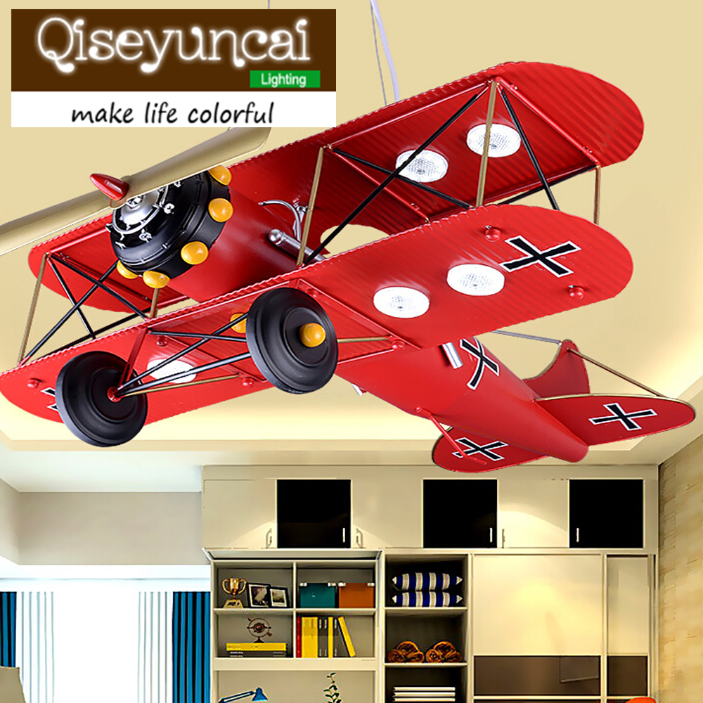 Qiseyuncai Children 's room LED eye plane chandelier boy bedroom cartoon creative personality American retro lighting children s room creative fighter chandelier boy bedroom cartoon led airplane chandelier free shipping