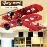 Qiseyuncai Children 's room LED eye plane chandelier boy bedroom cartoon creative personality American retro lighting