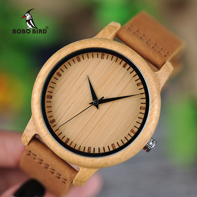 ボボ鳥ミニマリストの木腕時計メンズギフト腕時計女性レザーストラップ腕時計レロジオ masculino ドロップ無料