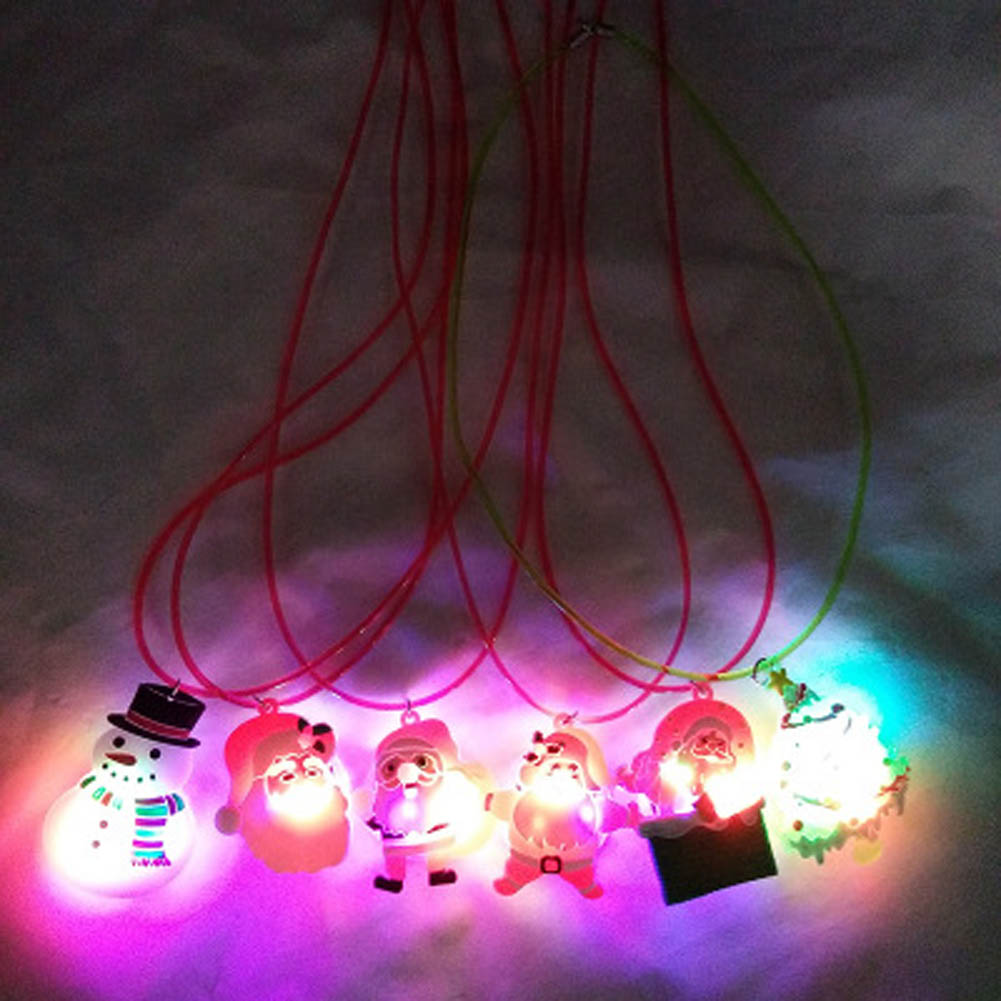 1pc LED Glow Necklace Toy Christmas Series Lighting Necklace Xmas Cartoon Flashing Necklace Merry Christmas Party Toy Randomly