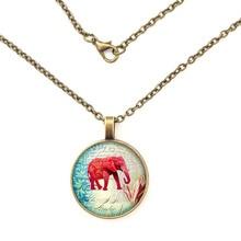 YSDLJG Pink Elephant Glass Pendant. Pink Elephant Necklace, Pink Elephant Jewelry, Birt  Long Necklace цена 2017
