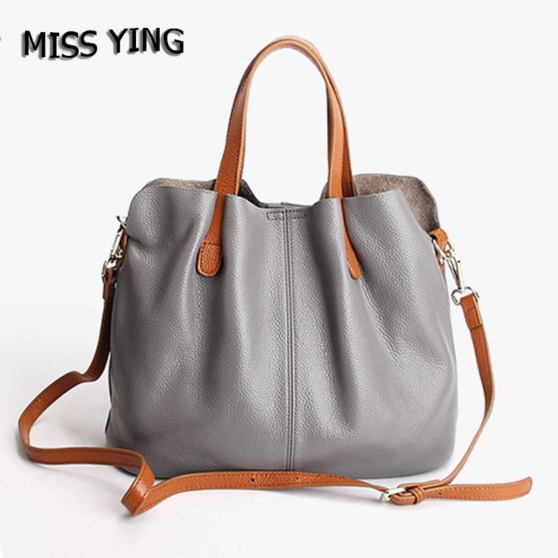 MISS YING Brand Women Genuine Leather Handbag Designer High Quality Female Large Shopping Cow Leather Shoulder Bag Crossbody Bag