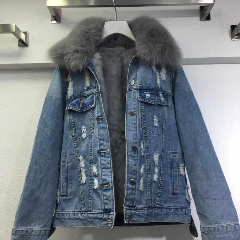 ce61689bdb 2018 new real fox fur demin jackets parkas mujer women's Detachable real  fur collar+rabbit