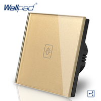 Wallpad Luxury Gold Crystal Glass Wall Switch Touch Switch Normal 1 Gang 2 Way Switch AC