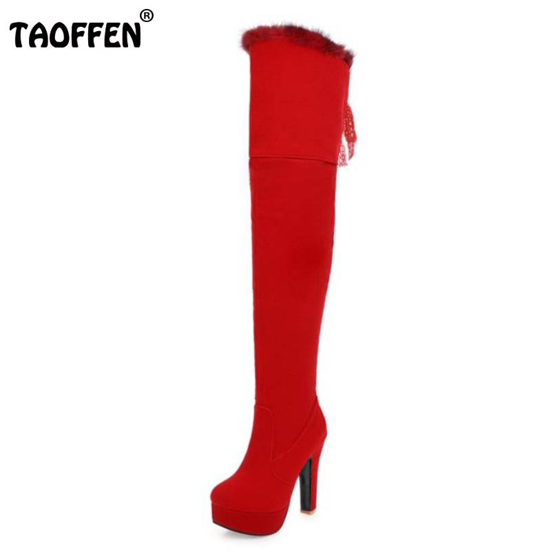 TAOFFEN Size 32-48 Women Over Knee Boots Thick Fur Lace Zipper High Heel Boots Warm Winter Long Botas Snow Shoes Woman Footwear