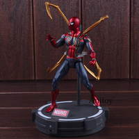 Avengers Infinity War Action Figures Marvel Spiderman Iron Spider with LED Light PVC Collectible Model Boys Toys 17cm