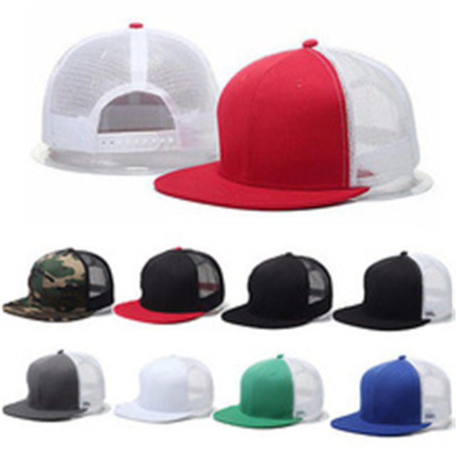 24310751fefbe Unisex Trucker Hat Blank Curved Hat Mesh Plain Color Cap Vogue Adjustable  Baseball Cap 9Styles
