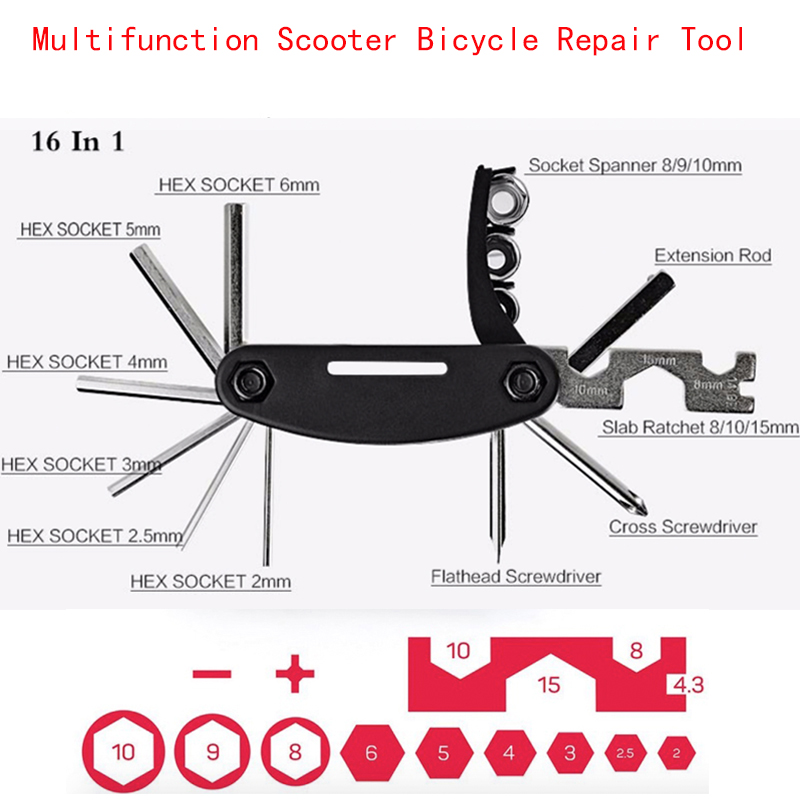 Mini Multifunction Bicycle Repair Tool 16 in 1 Kit For Xiaomi M365 Scooter Qicycle EF1 Folding Bike Screwdriver Hexagon Wrench