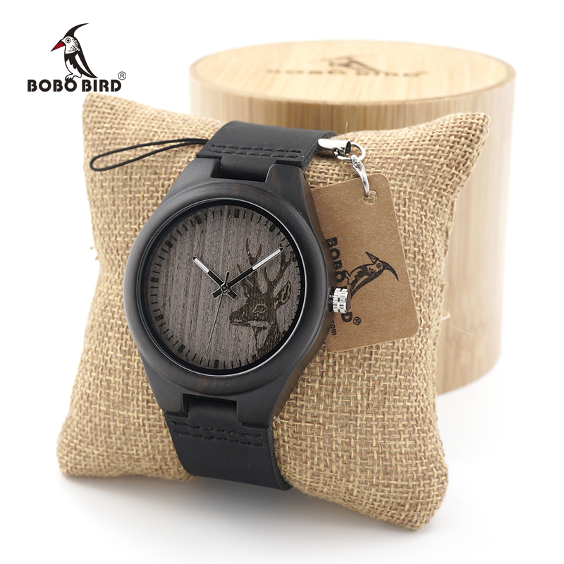 BOBO BIRD Mens Ebony Wood Quartz Watches Top Brand Luxury Watches Unique Deer Head Design with Real Leather Strap as Gift bobo bird i26 mens unique ebony wooden watches deer head dial casual quartz wrist watches with wood links in gift watch box