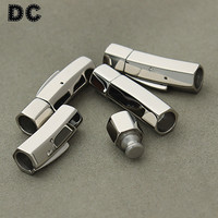 DC 1pcs Lot Stainless Steel Silver Square Magnetic Clasps Hole 6mm Fit Leather Bracelet Necklace Jewelry