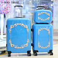 New Fashion Hot!!Blue Retro Relief Rolling Luggage Set Women Spinner Travel bag Trolley case 20 inch Boarding Box Trunk suitcase