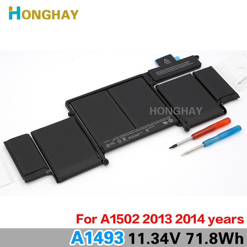 Honghay A1493 Laptop Battery For Apple MacBook Pro 13 2013 Retina A1502 ME864LL/A ME866LL/A ME865LL/A MGX72 ME864 ME866 11.34V ноутбук apple macbook pro 13 mlh12ru a mlh12ru a