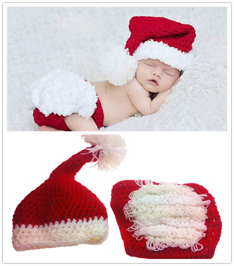 Baby Photography Props Christmas Outfits Santa Suit Long Tail Baby Boy Girl Christmas  Hat Crochet Newborn Photo Props 99b1d4cb5669