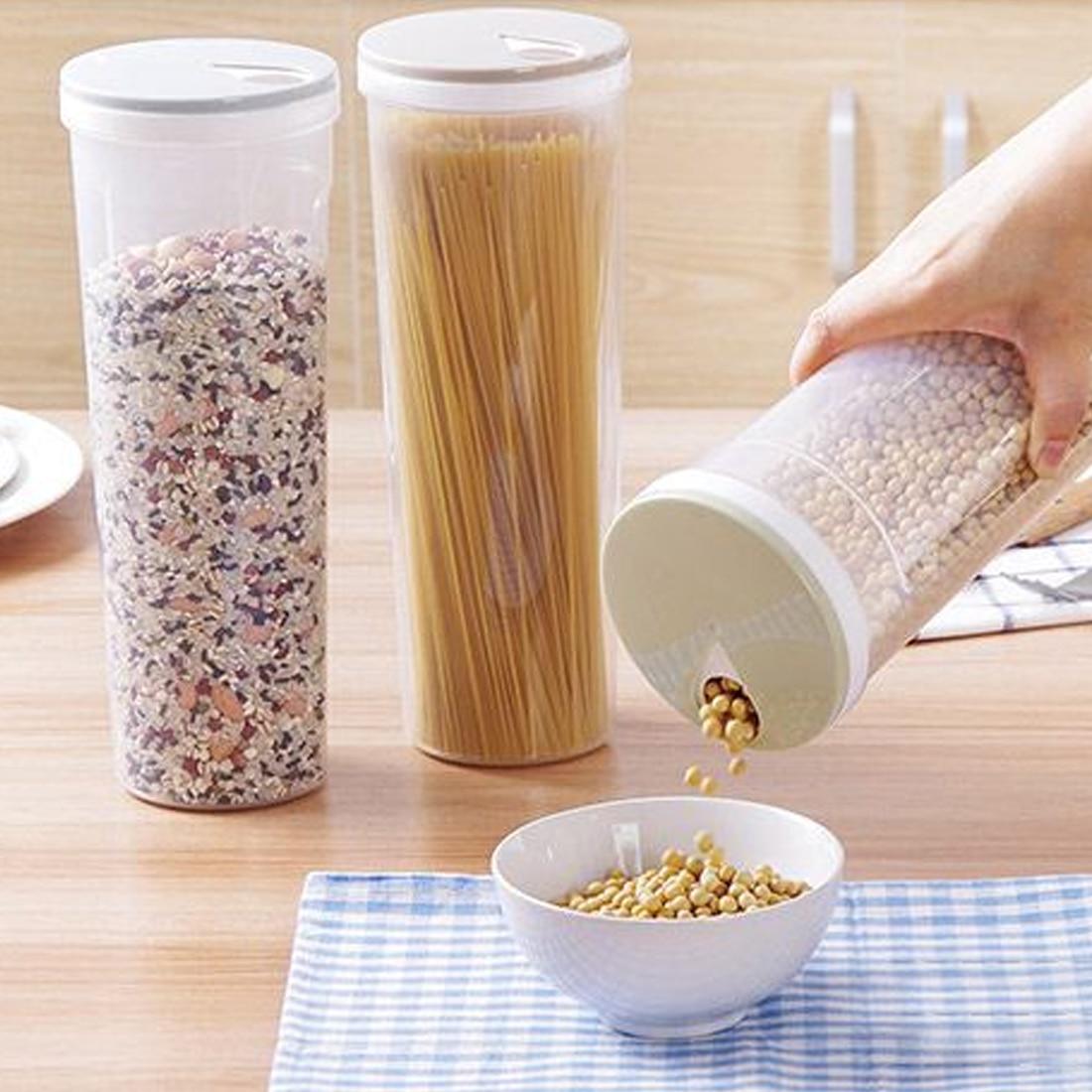 Accessaries de la cocina Utensilios Control Orificio Fideos Habas Titular de almacenamiento Cereales Grano Recipiente para alimentos