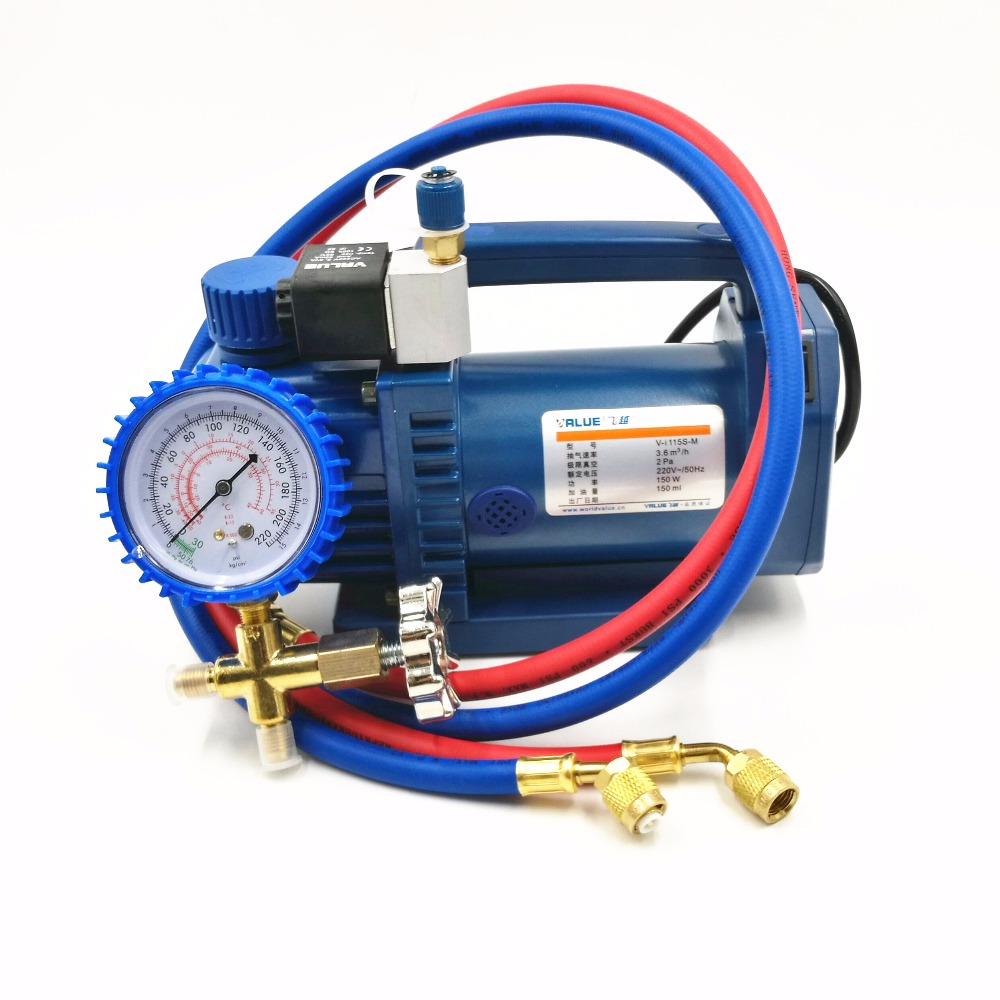 R12, R22 New Refrigerant 1 L Vacuum Pump V-i115S-M Air Conditioning Fridge Vacuum Pump With Solenoid Valve 150 W 2 Pa 3.6 m3/h смеситель для умывальника milardo nelson nelsb00m01