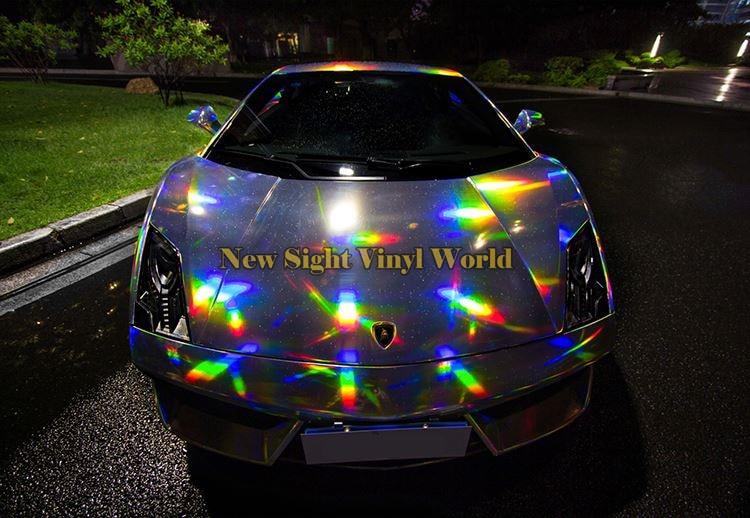 Best Quality Iridescent Laser Chrome Silver Vinyl Wrap
