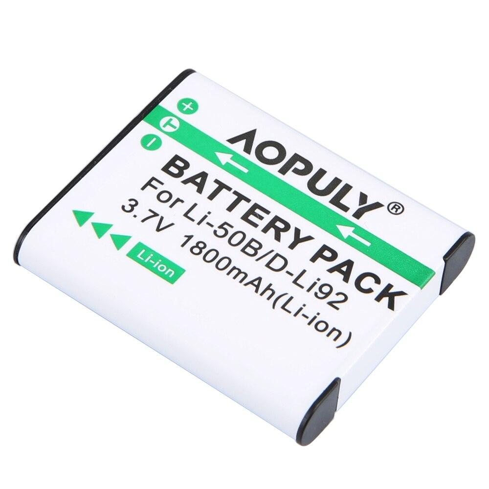 AOPULY 1pcs 1800mAh Li-50B D-LI92 Li-ion Camera Battery For Olympus LI-50B LI 50B LI50B For Pentax D-LI92 XZ-1 SP-800UZ SZ-30