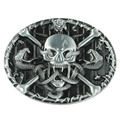 Senmi Brand Black Leather Skull & Crossbones Belt Buckles Unique New Cool Western Mens Vintage Belts Buckles